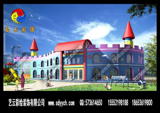 此风格运用于幼儿园设计中其建筑造型方面主要体现为西方卡通城堡