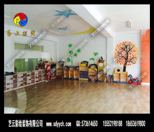 山东天才宝贝幼儿园中华苑分园室内墙体彩绘装饰案例