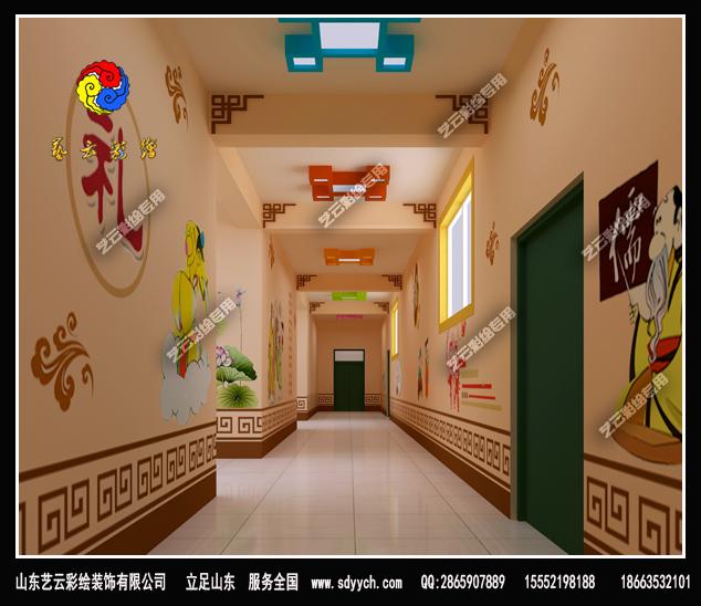 宁夏中卫幼儿园国学风格彩绘装饰作品